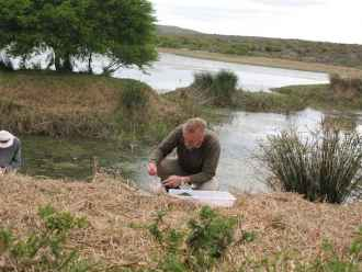 Collecting Diving beetles in Eastern Cape, South Africa, in 2008.